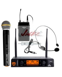 Nady DW-22 Dual Digital Wireless Combo Microphone System with 1 Handheld Microphone, 1 bodypack & 1 Headset.