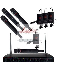 Nady U-81 Octavo HT-LT – Four wireless handheld microphones and four bodypacks with lavalier microphones